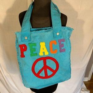 Handbags - Peace distressed denim tote.